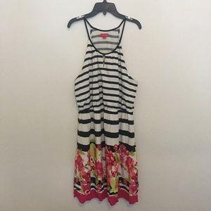 Elle halter floral striped dress size xl